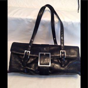 Kenneth Cole black leather satchel hand bag used